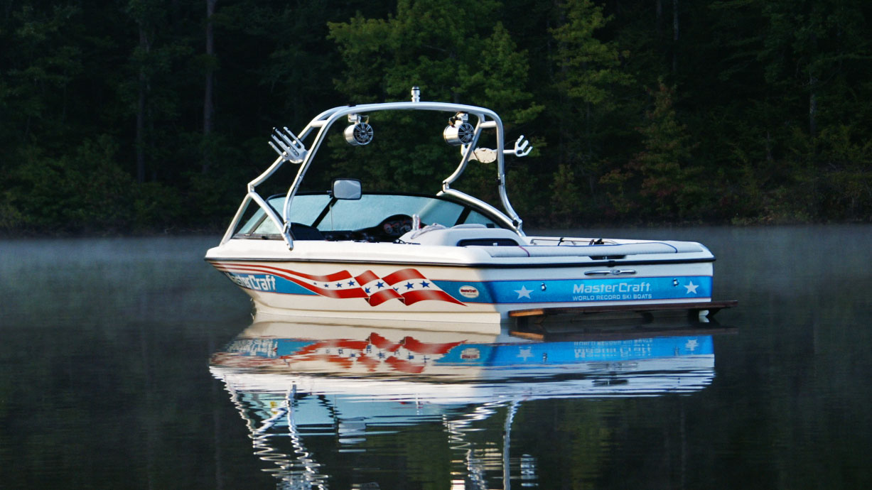 New dimension towers wakeboarding boat