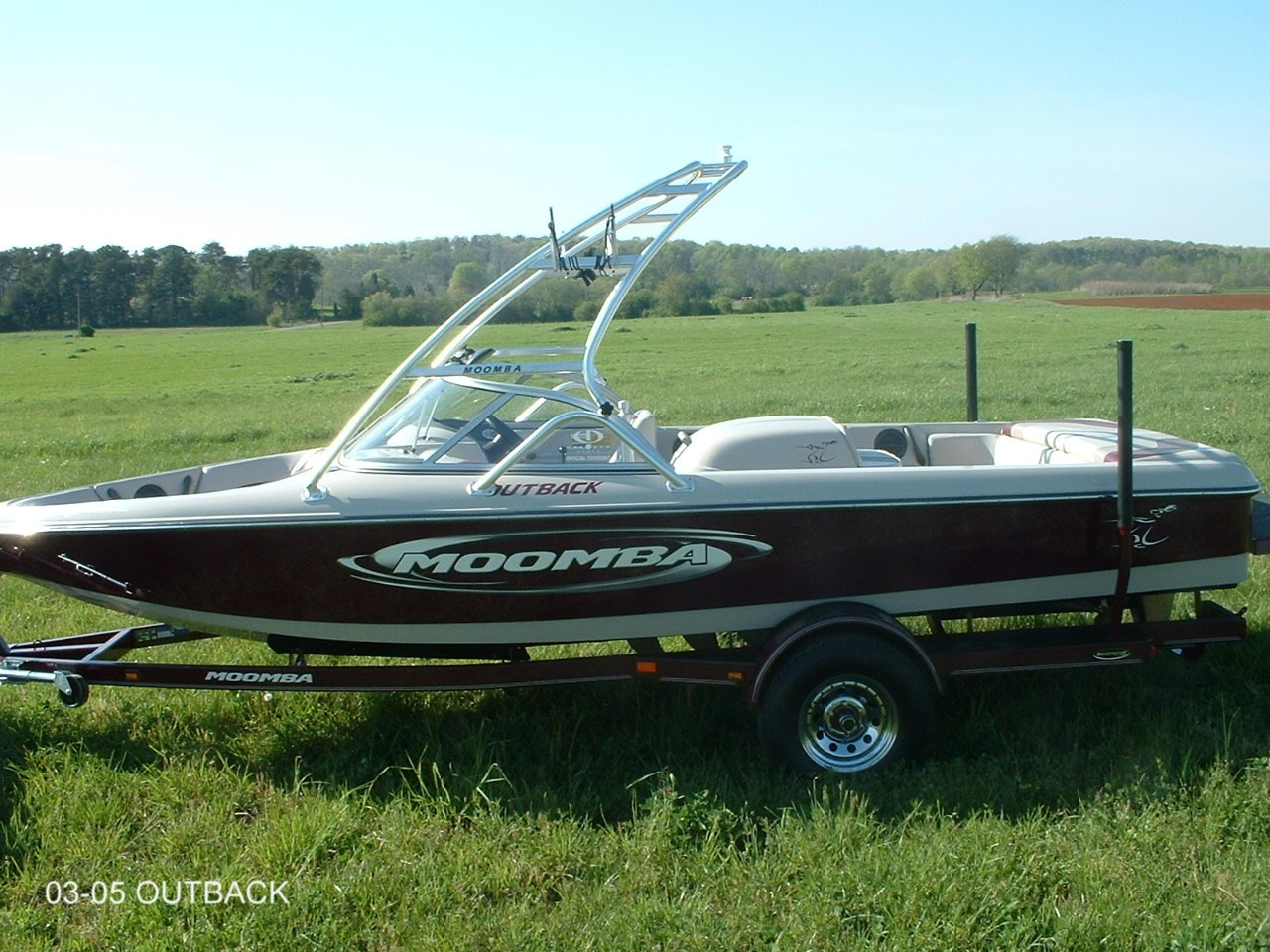 main view of 03 - 05 moomba outback with new dimension towers wakeboard tower