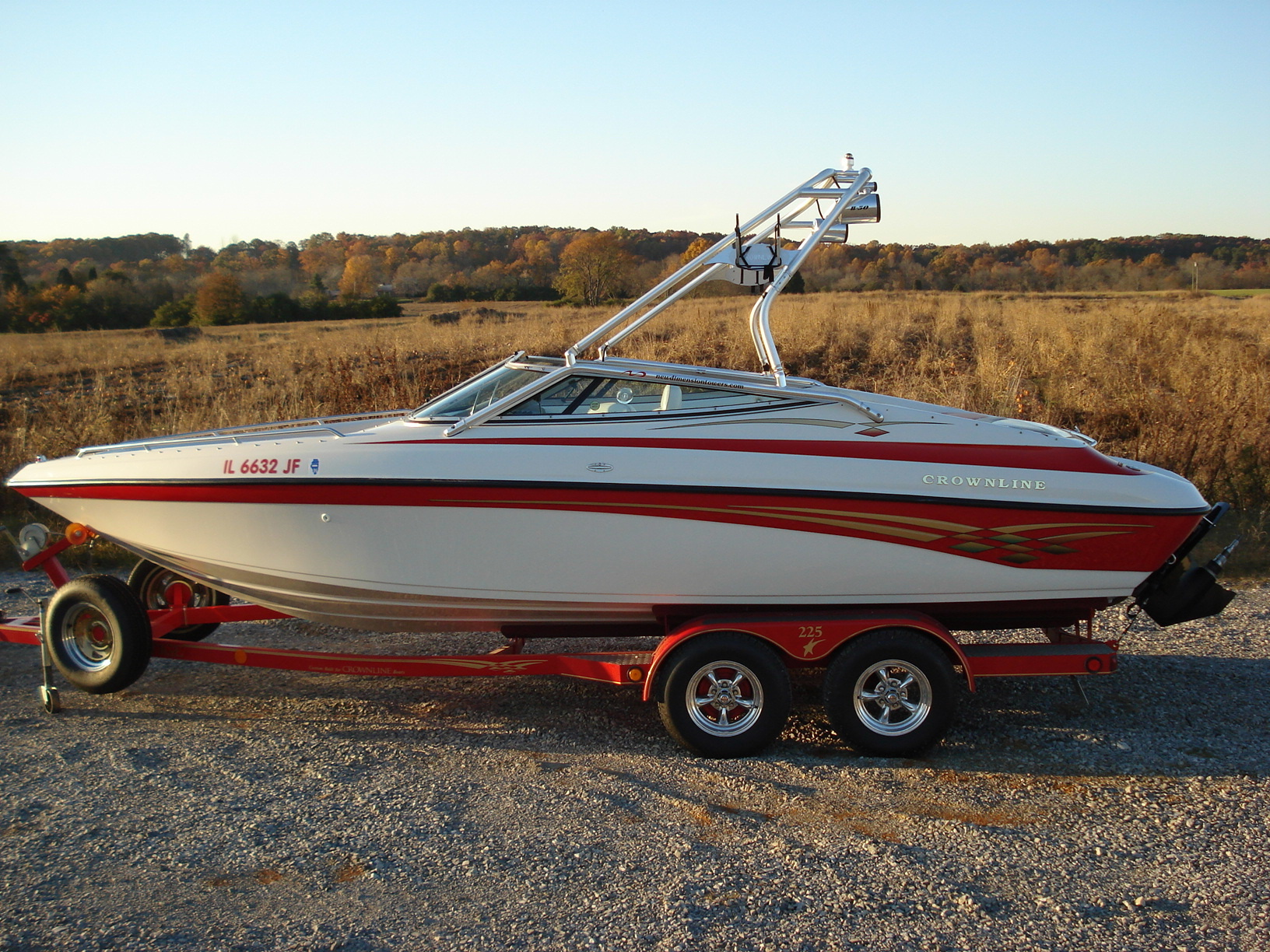 main image of 99 crownline 225 bowrider wakeboarding boat with new dimension towers wake tower