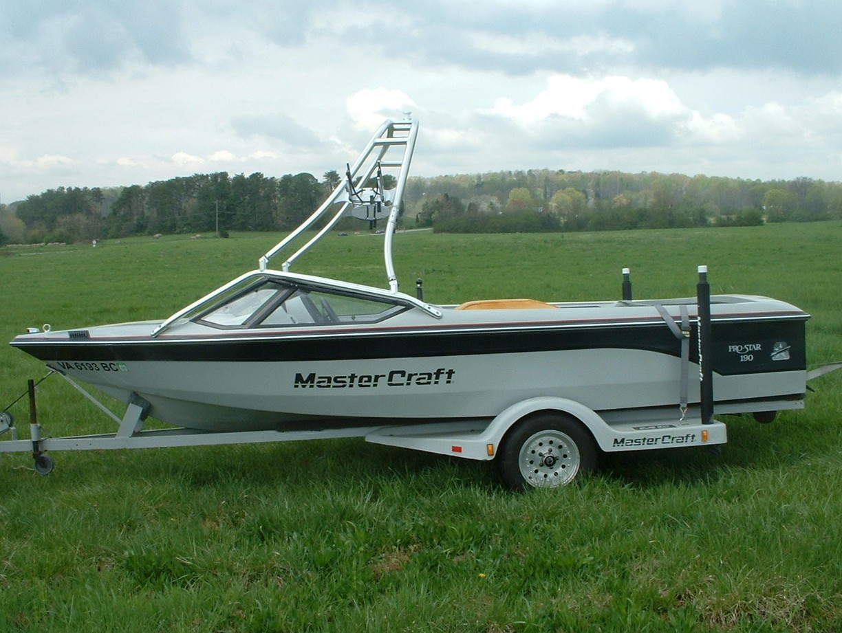 main view of 87 - 90 mastercraft prostar 190 with new dimension towers wakeboard tower