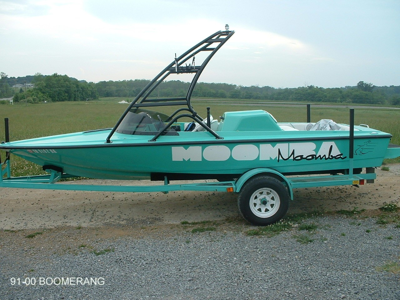 main view of 91 - 00 moomba boomerang with new dimension towers wakeboard tower