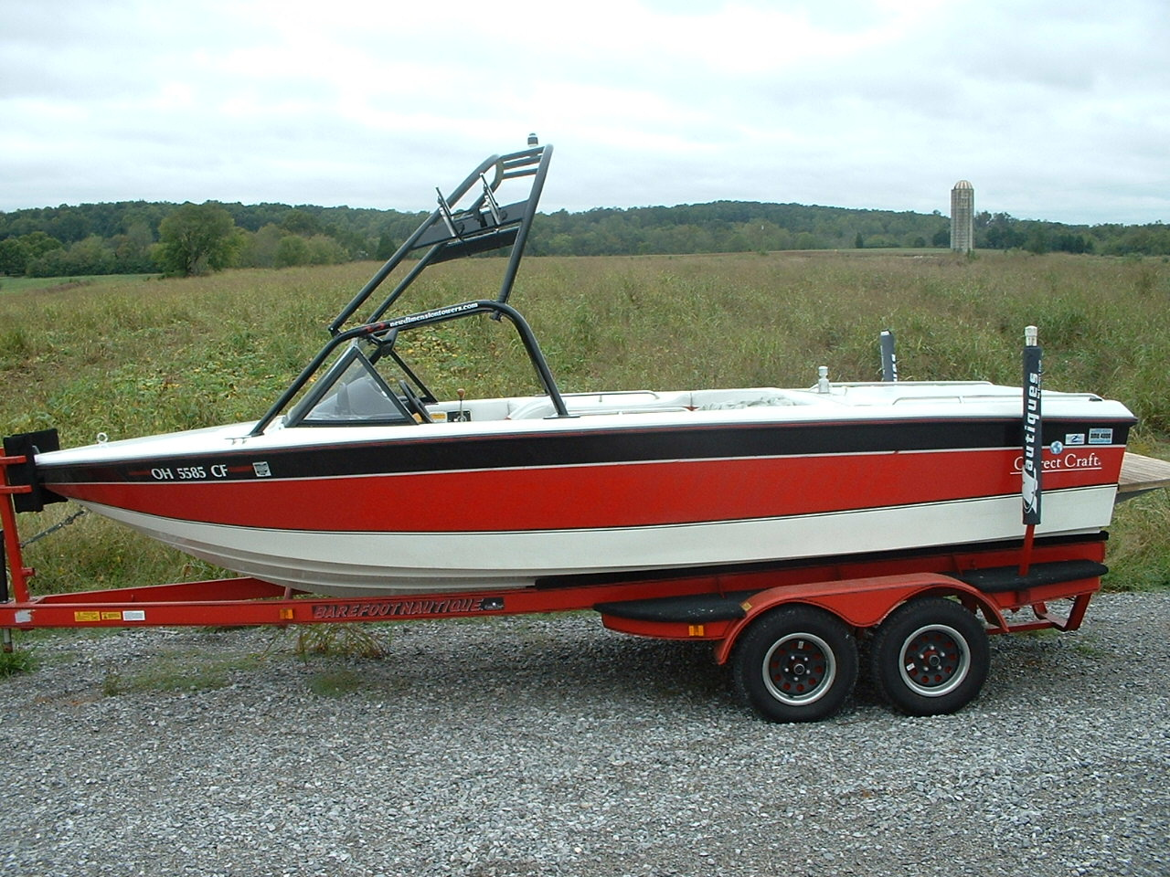 main view of 91 - 94 barefoot nautique with new dimension wakeboard tower